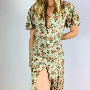 Vintage Olive Floral Button Down Midi Dress L